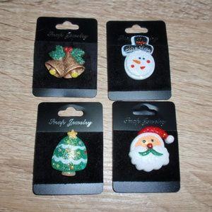 4 18mm Christmas Snaps Buttons Bundle Santa Tree